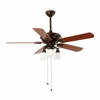 Ceiling fan in classic brown / rustic with three 42W bulbs