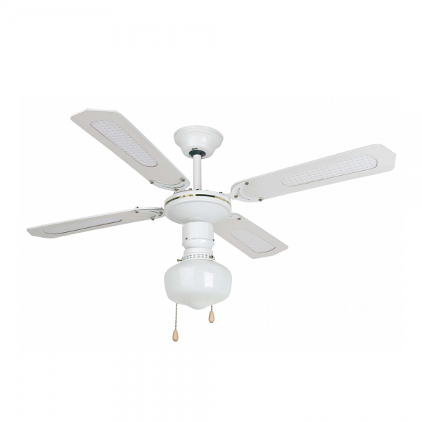 Retro ceiling fan in white with Eco Bulb 42W
