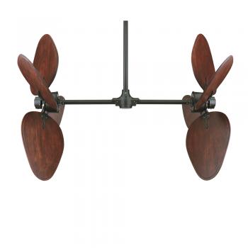 Ventilador FANIMATION en marrón oscuro con rotación vertical de la pala