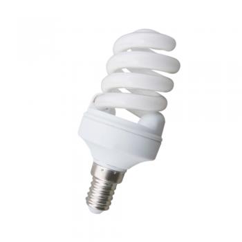 10 Bombillas bajo consumo Microespiral E14 de 11W - 530 Lm frío