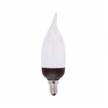 10 Bombillas bajo consumo tipo vela punta y base negra E14 de 9W - 405 Lm cálido