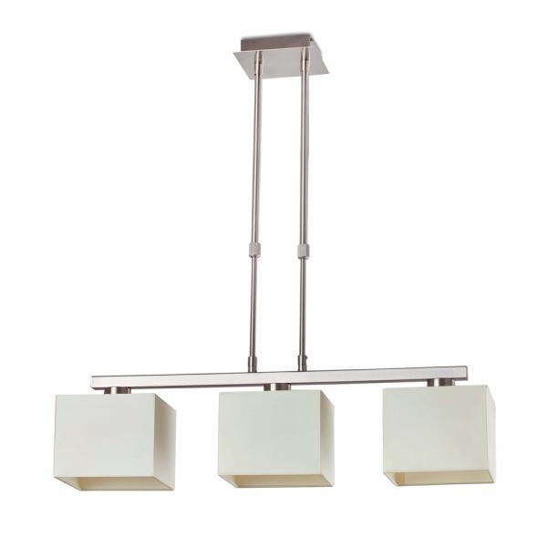 L mpara colgante con pantalla textil y tres bombillas eco for Lamparas de bombillas colgantes