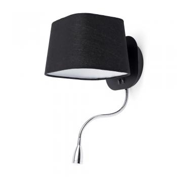 Aplique Cool con pantalla en negra y bombilla Eco de 28W y LED 1W