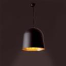 Lámpara colgante negra con interior dorado con tres  portalámpara  E27