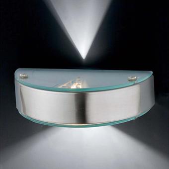 Aplique en níquel mate y cristal de estilo moderno con halógena de 40W