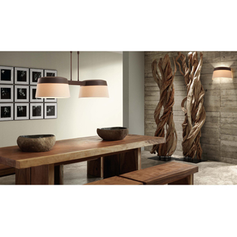 Aplique marrón y beige de aspecto clásico con dos portalámparas E14