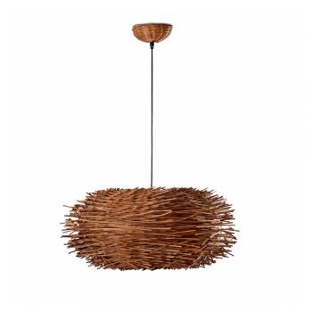 Lámpara nido en rattan marrón con portalámpara E27