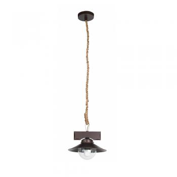 Lámpara rústica con cuerda y burbuja de cristal con portalámpara E27