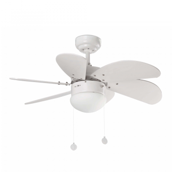 Fan blades with white rounded Eco 42W bulb