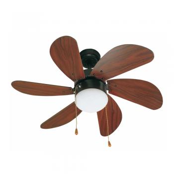 Ventilador de palas redondeadas en marrón oscuro con portalámpara E14