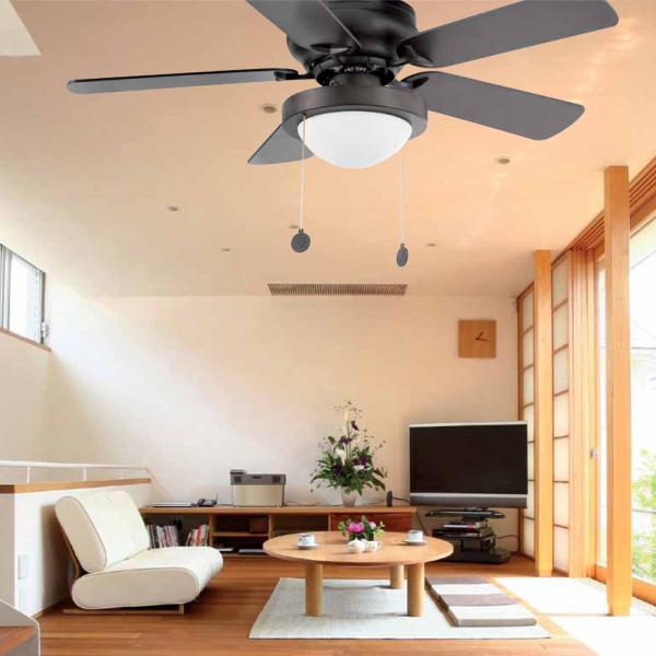 Retro Ceiling Fan In Dark Brown With Eco Bulb 42w