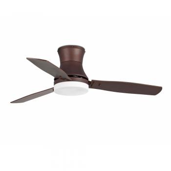 Ventilador vanguardista en marrón oscuro con dos portalámparas E27