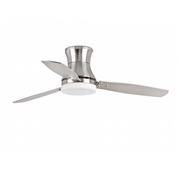 Vanguardist fan in brushed nickel with two 15W saving