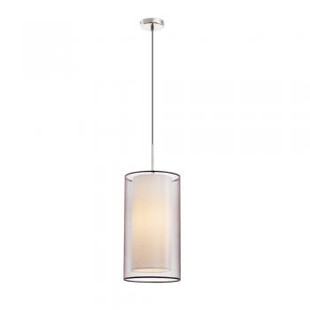 Lámpara níquel mate clásica con pantalla textil