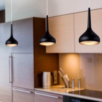 Light pendant in black and gold with warm 8W LED technology