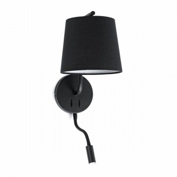 Nirb aplique de pared con lector LED negro