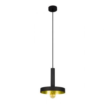 Dinay lámpara colgante en negro y oro satinado