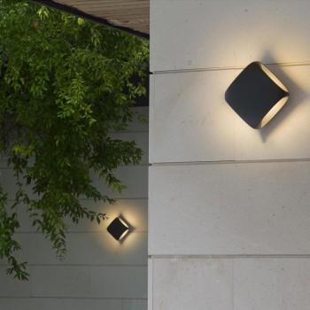 Square lámpara aplique gris oscuro