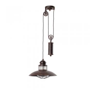 Lámpara candil rústica con peso en marrón