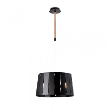 Inspired factory lamp in black wood and Eco 42W bulb