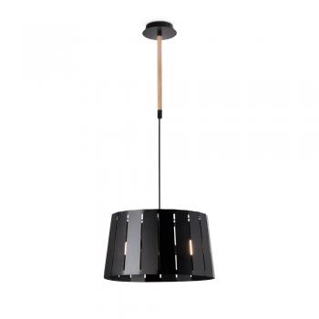 Lámpara factory inspired en negro con madera
