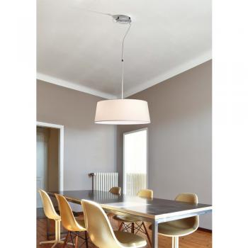 Lámpara colgante con pantalla textil en blanca