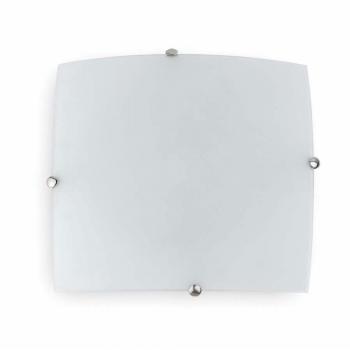 Plafón níquel mate de 30x30 cm con cristal y dos portalámparas E27