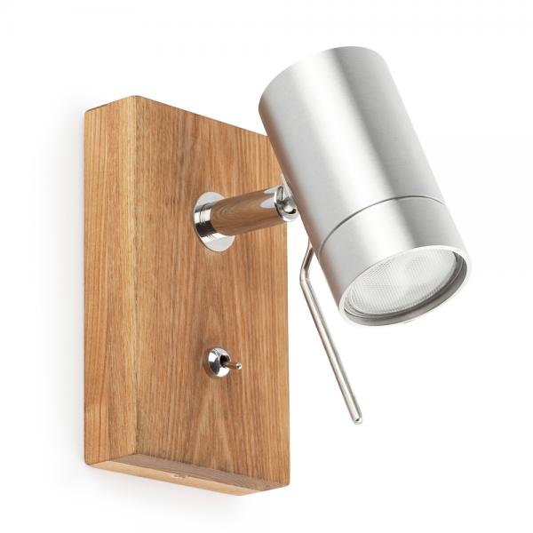 Aplique en madera y aluminio n quel mate con una dicroica for Aplique pared madera