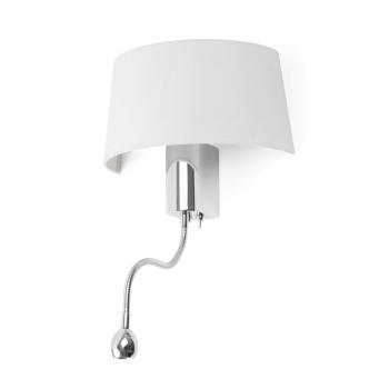 Lámpara de pared en blanca con LED de 1W y bombilla Eco de 28W