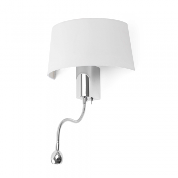 White wall lamp with LED bulb 1W and 28W Eco
