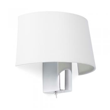 Lámpara de pared en blanca con interruptor y  portalámpara E27