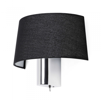 Black wall lamp with switch and Eco 28W bulb