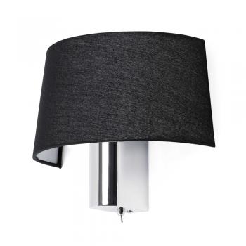 Lámpara de pared en negra con interruptor y  portalámpara E27