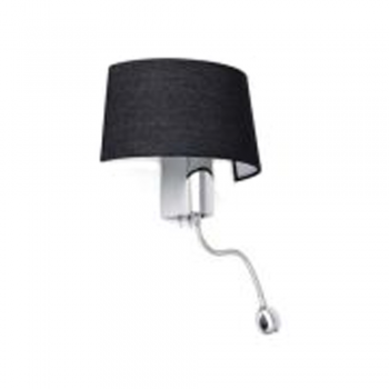 Black wall lamp with LED bulb 1W and 28W Eco