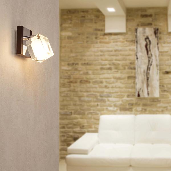 Aplique de pared en madera y metal con una bombilla g9 40w for Aplique pared madera