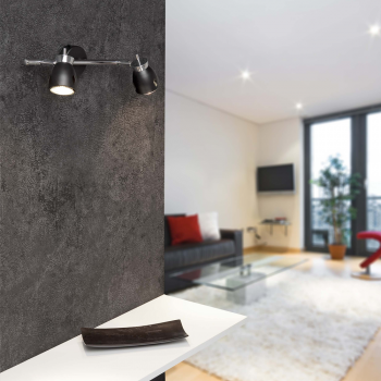 Aplique negro de diseño moderno con dos portalámparas GU10