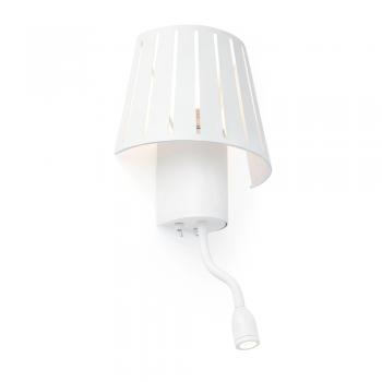 Lámpara factory inspired en blanca con bombilla Eco 42W y LED de 1W