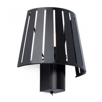 Wall lamp in black with factory inspired Eco 42W bulb