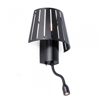 Lámpara factory inspired en negra con bombilla Eco 42W y LED de 1W