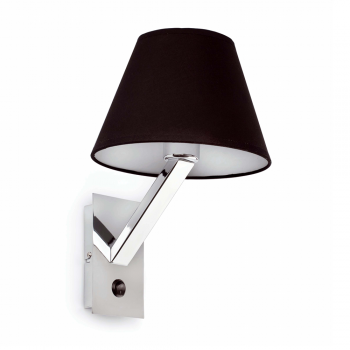 Lamp in steel and black lampshade bulb 42W Eco