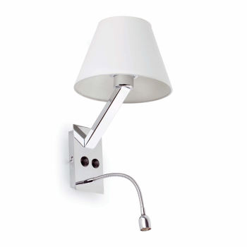 Lamp in steel and white lampshade bulb and 42W Eco 1W LED