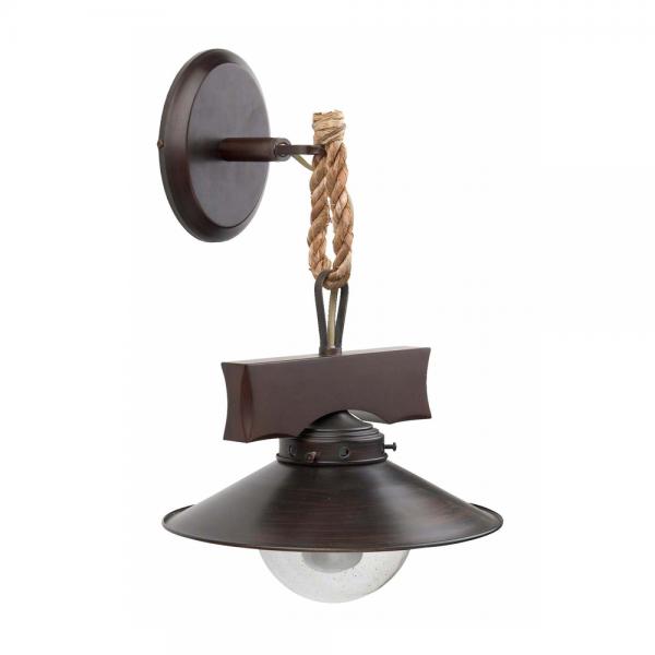 Aplique r stico con cuerda y burbuja de cristal con una - Iluminacion rustica interior ...