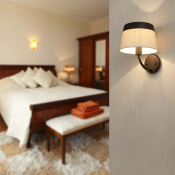 Lamp brown and beige classic look with Eco 42W bulb