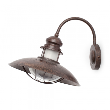 Aplique candil rústico en marrón con portalámpara E27