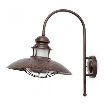 Luminaria de pared candil rústico en marrón con portalámpara E27
