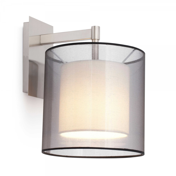 Lamp Classic Matte Nickel Fabric Screen And Eco 28w Bulb