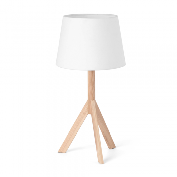 Ace table lamp with wooden tripod and white lampshade bulb 28W