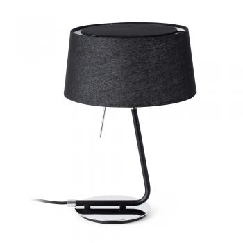 Lámpara de sobremesa con pantalla textil en negra