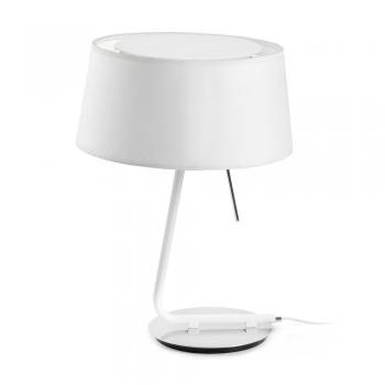 Lámpara de sobremesa con pantalla textil en blanca