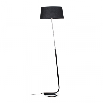 Lámpara de pie con pantalla textil en negra